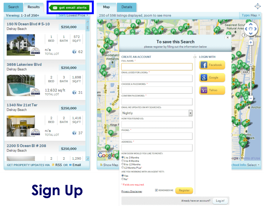 Sign up to save your HomeRep Home Search